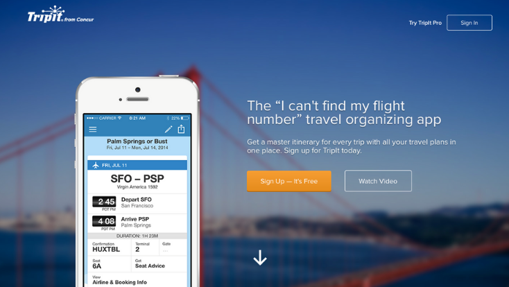 TripIt mobile app,mobile travel app,travel applications